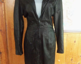 80s BEGEDOR ITALIA— Black Leather Dress with a Metallic Shimmer—Funnel Neck Zipped Up, or Unzips Totally—Can be Worn as a Coat—Size 8
