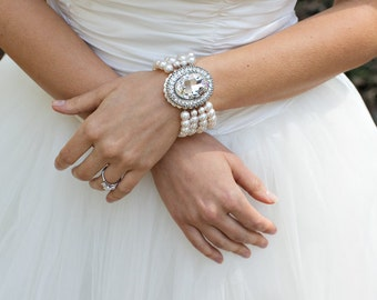 bridal bracelet, pearl and crystal Bracelet, Statement Bridal Bracelet, Wedding Rhinestone Bracelet, swarovski crystal bracelet, KARA