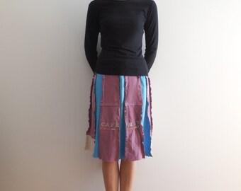 Womens T-Shirt Skirt Women's Skirt Aqua Burgundy Red Cream Handmade Skirt Cotton Skirt Knee Length Skirt Summer Skirt Vacation Travel ohzie