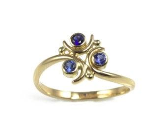 Zora Sapphire Engagement Ring, in 14k Gold - Geeky Ring, Legend of Zelda, Nintendo, Three Stone Ring, Blue Diamond, Aquamarine, Topaz