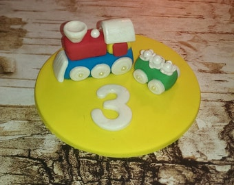 Fondant Cake Topper Train (Cupcake Toppers to match are available) Includes 1 (one)
