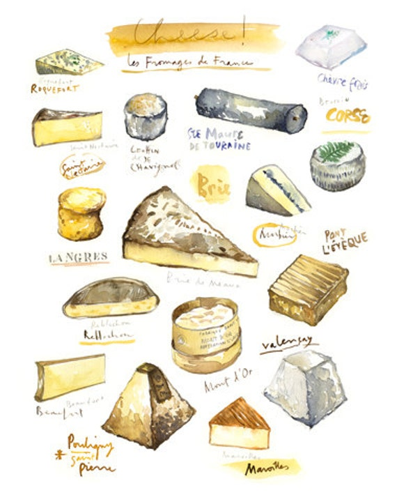 Cheese Print Watercolor French Cheese Painting By