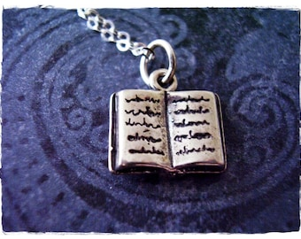 Silver Open Book Necklace - Sterling Silver Open Book Charm on a Delicate Sterling Silver Cable Chain or Charm Only