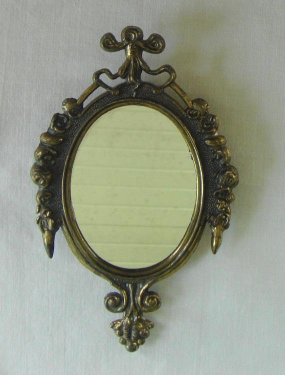 Vintage italian brass mirror small wall mirror baroque italian for Small baroque mirror