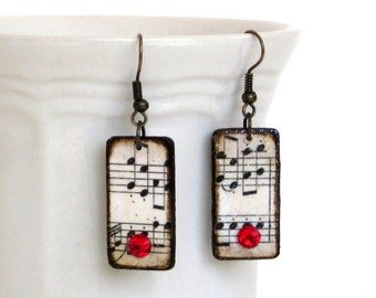Sheet Music Dangle Earrings Decoupaged Bohemian Fashion Boho Jewelry Red Crystal Drop