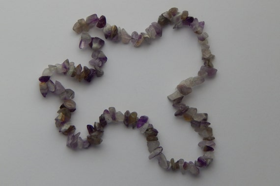 Amethyst Gemstone Chip Beads - 5 to 10mm Stone, Purple Color, Irregular Smoothed Shapes, Full Strand, 16 Inch