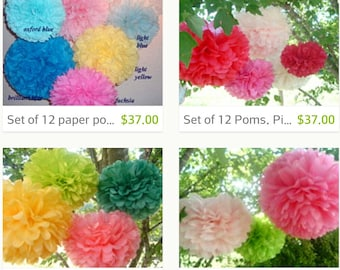 20 Tissue paper poms, Pom Pom, Paper pom, Hanging flowers, Wedding decorations, Baby shower, Bridal party, Party decorations.