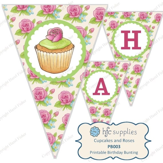 Cupcakes and Roses Bunting -  printable happy birthday banner, pretty floral rose, tea party - Digital Instant Download - PB003
