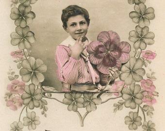 French Vintage postcard from early 1900s - Circulated unique postcard from France - Boy with flowers - Porte bonheur