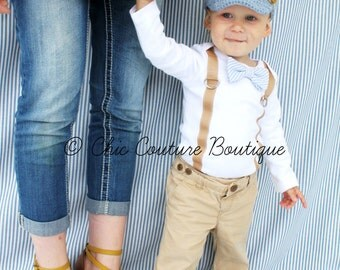 Baby Boy Bow Tie & Suspender Bodysuit. Baby Blue Seersucker, Wedding Outfit, 1st First Birthday Outfit, Christmas Holiday, Back to School