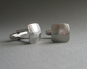 Hammered Silver Square CUFFLINKS-- Classic Cufflinks