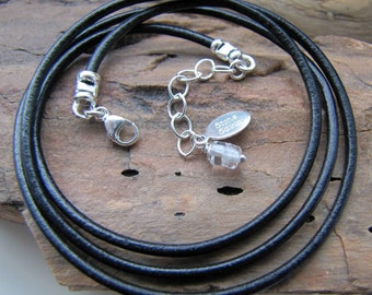 leather cord BLACK necklace . or brown cord LEATHER necklace . sterling clasp and chain . sturdy necklace . under 15 dollars . charity