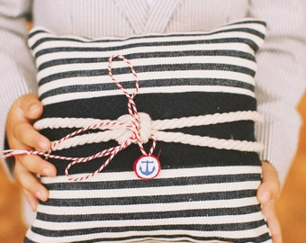 Nautical Knot Ring Pillow - Navy Blue - Nautical Chic - Twine Bow - Ring Bearer Pillow - Matching Flower Girl Basket Available