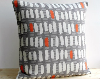 Linen Cotton Pillow Cover, 18x18 Modern Pillow Cover, 18 Inch Pillow Sham, Cushion Cover, Scatter Cushion, Pillow Case - Brushstrokes Orange