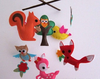 "Baby Crib Mobile - Baby Mobile - Baby Girl Nursery Felt Mobile - ""Summer Rainforest Friends"" (Pick your color)"