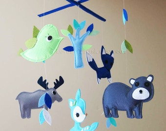"""Baby Crib Mobile - Baby Mobile - Blue and Green Baby Boy Mobile - """"Moose and Bear in the blue forest"""" (Pick your color)"""
