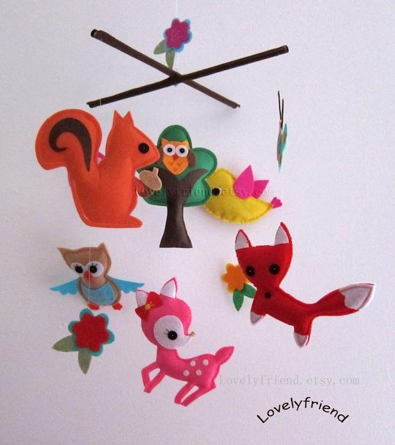 "Baby Crib Mobile - Baby Mobile - Baby Girl Nursery Felt Mobile - ""Summer Rainforest Friends"" (Pick your color)"