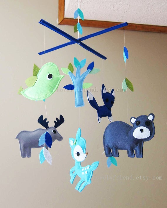 "Baby Crib Mobile - Baby Mobile - Blue and Green Baby Boy Mobile - ""Moose and Bear in the blue forest"" (Pick your color)"