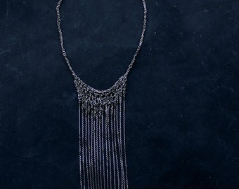 Glam diamond cut extra long fringe necklace, oxidized sterling silver, contemporary