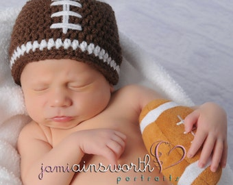 Ready Newborn Football Beanie, Football Baby Hat,  Baby Boy Hat, Newborn Baby Crochet Photo Prop