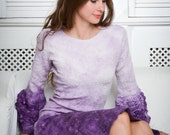 Purple ombre dress, felted wool and silk midi dress, radiant orchid, fall autumn fashion, party clothing, ooak, size S-M