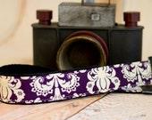 Camera Strap DSLR - Purple Camera Strap - Padded Camera Neck Strap - Nikon Strap - Photographer Gift - Canon Strap - Plum Damask