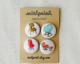 Eames Pinback Buttons- Set of 4
