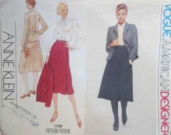 Vogue American Designer 1789 Anne Klein Women's Jacket Blouse Skirt Sewing Pattern Bust 36