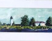 Beaver Island print of watercolor by Mary Blocksma 10x20 Mat