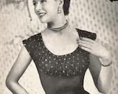 Knitted Shelf Bust Evening Jumper, c 1950s - vintage knitting pattern PDF (523)