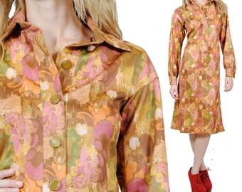 70s Vintage Dress - Hippie Festival Midi Dress - Boho Long Sleeve Dress - Small - Medium