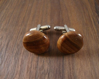 Round Wooden Men's Cuff Links - Black Walnut Wood - Wedding, anniversary - Natural and Eco Friendly Jewelry