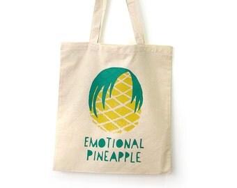 Tote Bag Emotional Pineapple · Fun Emo tote bag · Original shopping bag handprinted by Olula · Reusable bag · Shopper bag · Tropical print