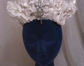 White Wedding Hat Tiara , Haute Couture White Lace Crown with beading and rhinestones.