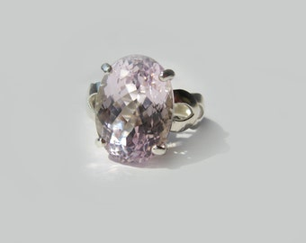 Extra Large Light Pink Kunzite Cocktail Ring In Sterling Silver 16.96ct. Size 7.75