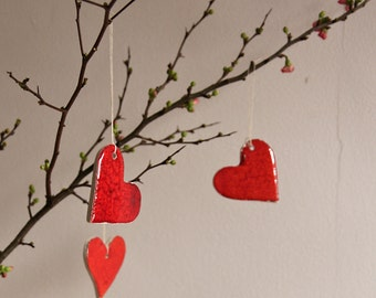 red heart ornaments, Valentine's Day gift, small token gift. ceramic heart ornaments, red love hearts by karoArt