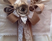 10  hessian bows Pew ends chair backs natural lace paper flowers music decorations weddings dressing tie backs table rustic barn country