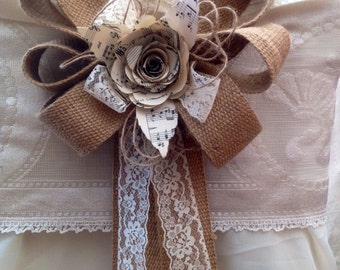 12  hessian bows Pew ends chair backs natural lace paper flowers music decorations weddings dressing tie backs table rustic barn country
