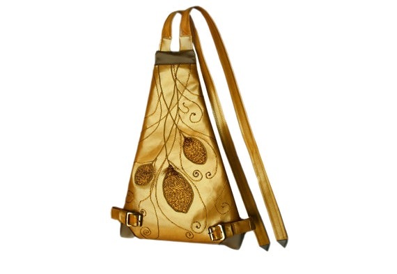 Prom golden bag, Year of Light 2015, IYL 2015 gift idea, golden bag, elven bag, fantasy costume, luxury backpack, golden backpack, Fire Bird