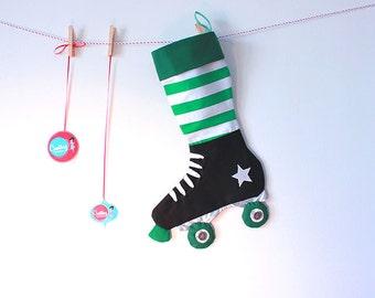 Christmas Stocking - Christmas decoration -Derby roller skate stocking