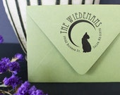 Wood Mounted - Personalized Address Stamper - Custom Address Stamp - Cat - Silhouette - Crescent Moon - DIY Envelope Printing - Unique Gifts