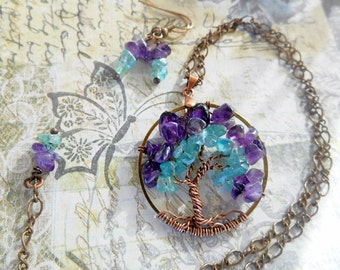 Amethyst and Apatite Stone Tree of Life Necklace Set Petite