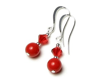 XOXO Hugs And Kisses Bright Red Czech Glass Swarovski Crystal Silver Earrings, Romantic Red Earrings, Light Siam, Red Hot, Sexy Drop Jewelry