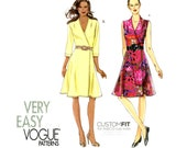 Vogue V8646 Wrap Dress Pattern Uncut Very Easy Fit and Flare Front Wrapped Dress Wraparound Dress Day or Evening Dress Womens Sewing Pattern