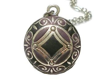 Black And Purple Mandala Necklace Purple And Black Pendant Mandala Jewelry