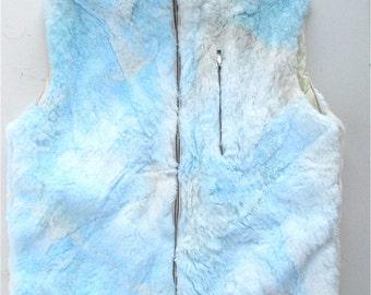 Vintage Faux Fur White Blue Vest Tie Dye Zippered Vest Vintage Jet Set Brand Clothing Vest Vintage Italian Fur Vest Vintage Blue White Vest