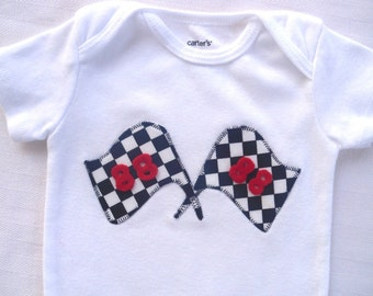 Racing  Bodysuit / Race Flags / Your Choice of Numbers