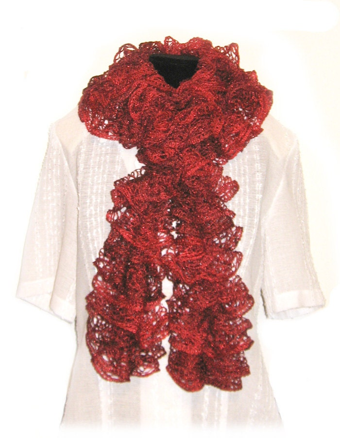 Ruffle Scarf-Handmade Knitted-Red Heart Sashay Yarn Metallic
