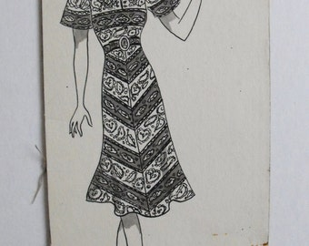 Original Art School Ink Fashion Drawing from 1933-35