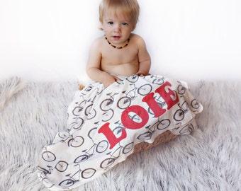 Cruiser Bike Personalized Monogram Organic Baby Blanket - Children's Gift Organic Cotton Bicycle Gift For Baby- Baby Swaddler